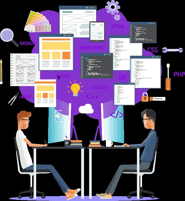 web design team working
